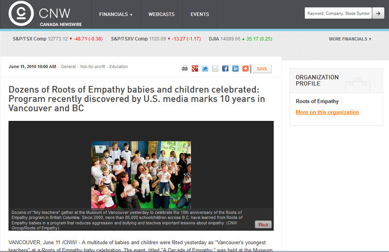 Roots of Empathy  on Canada Newswire - Photo Taken by Yila Dong