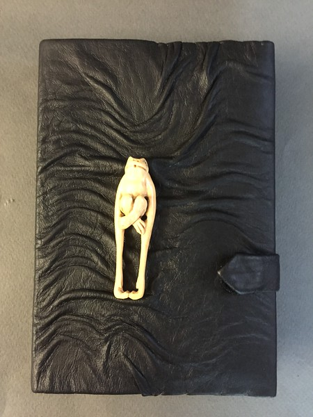 Small Sculpted leather journal cover with carved frog