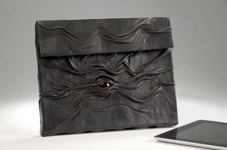 """Leather """"eye"""" pouch for ipad"""