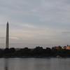 Washington Monument at sunset across the Tidal Basin