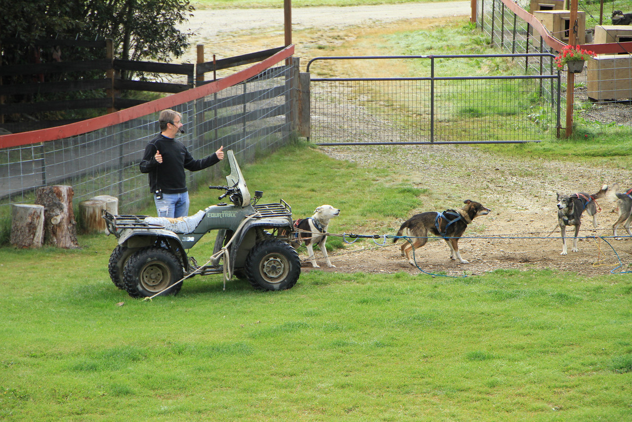 No snow?  Use an ATV to simulate the weight of a sled for training.