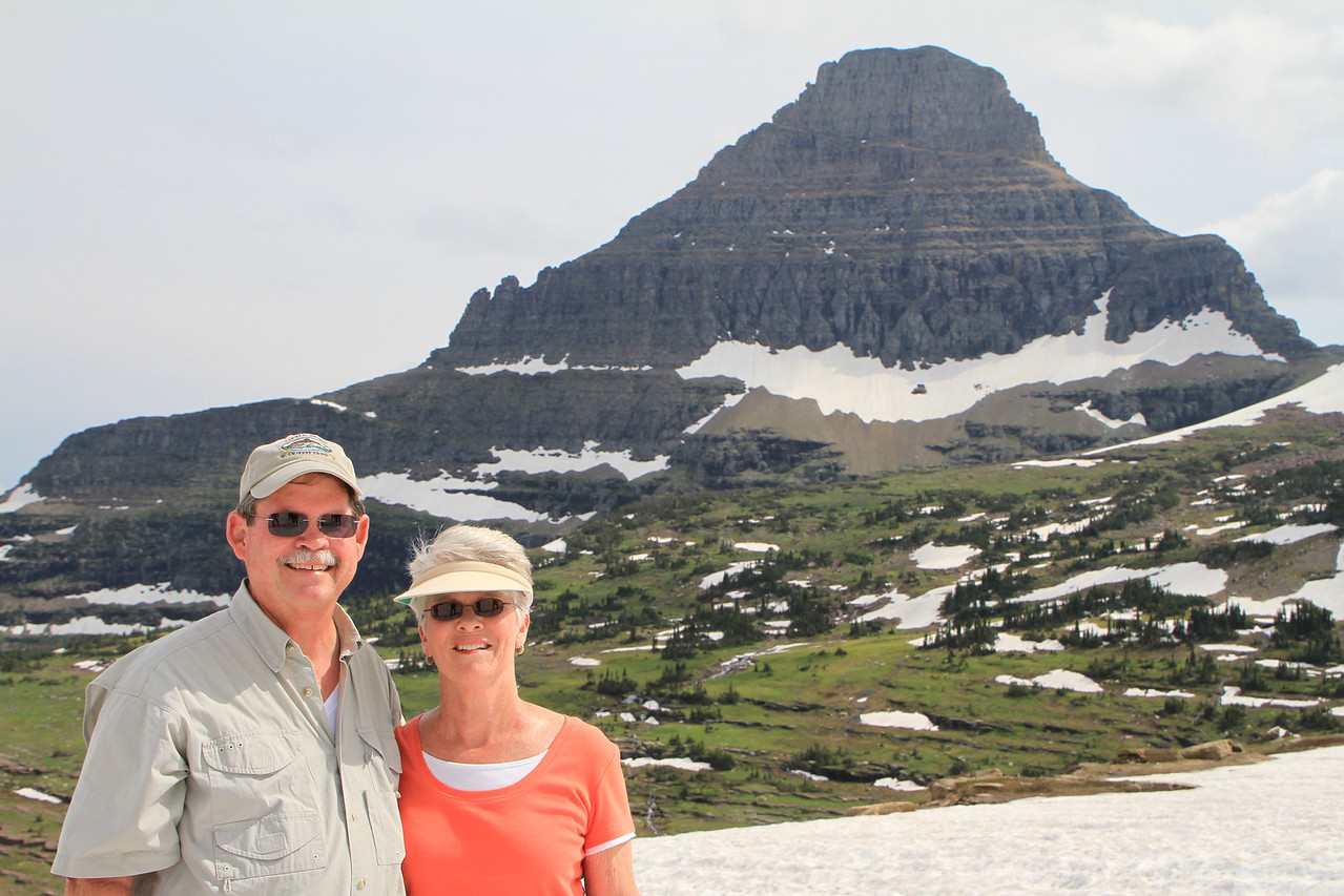 About 2 miles into our trek up the glacier field at Logan's Pass, on the Road to the Sun Highway thru Glacier Nat'l Park.