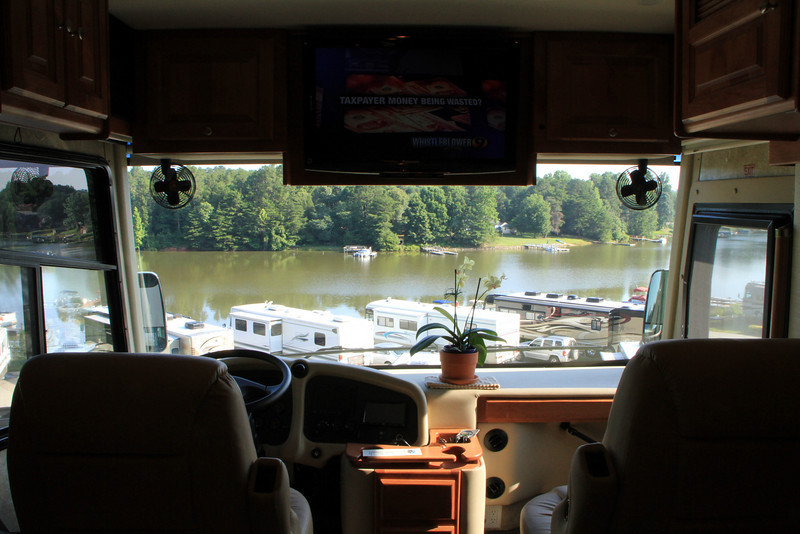 Morning at Lake Norman Motorcoach Resort, overlooking a cove off the lake.