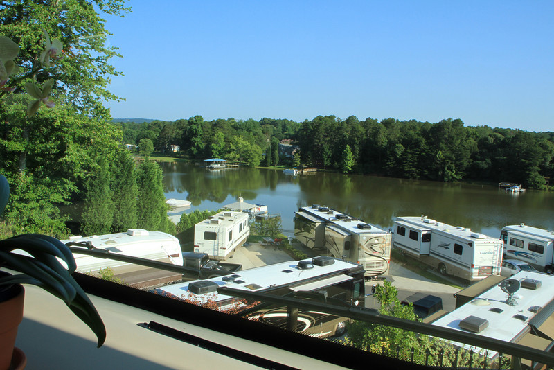 View out our coach towards a cove off Lake Norman, North Carolina.