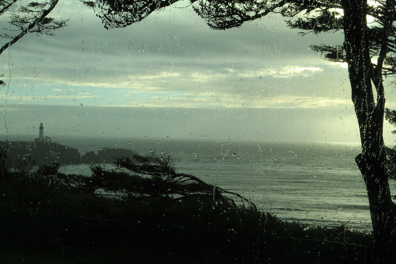 Rain put a certain mystery to the lighthouse.