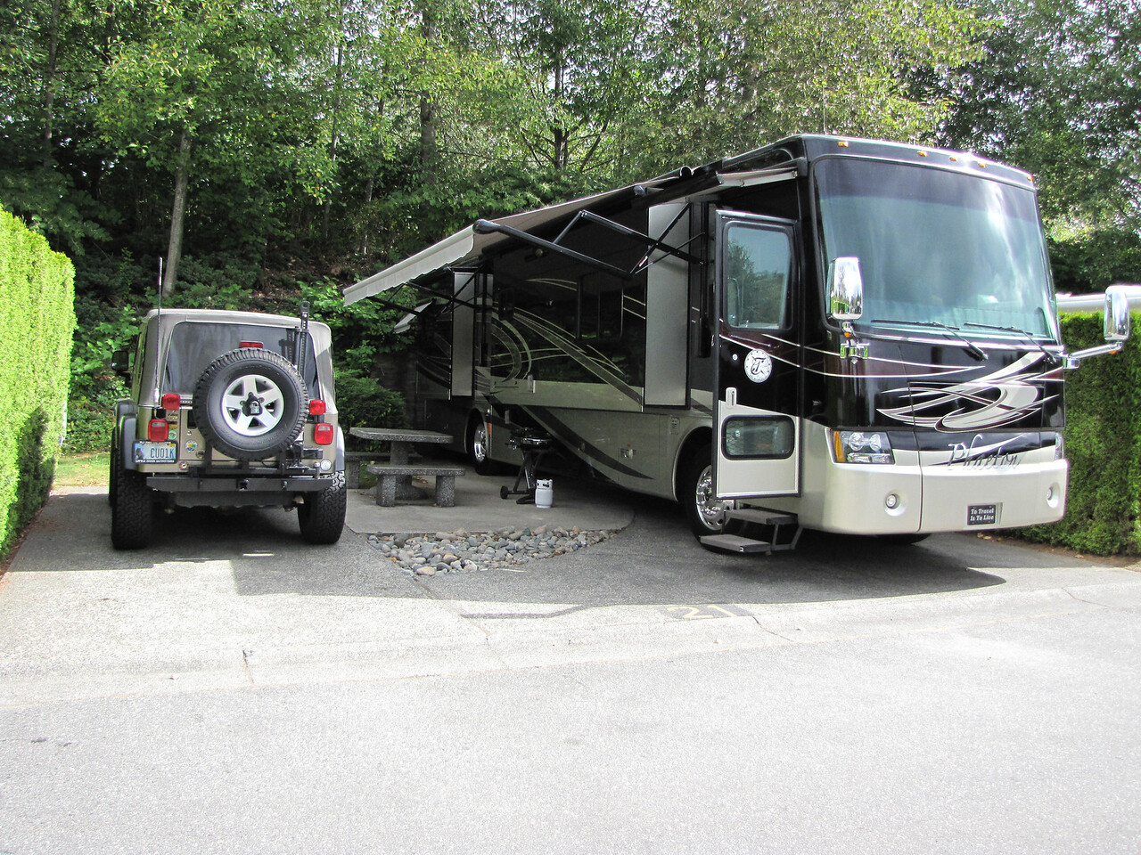 This is where we left our rig while we were on our 15 day John Hall's Alaskan Tour.  We were in Burnaby, British Columbia, just outside Vancouver.