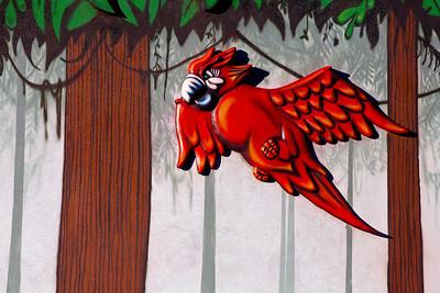 Parrot & Mural Rainforest Cafe Chicago IL_7046