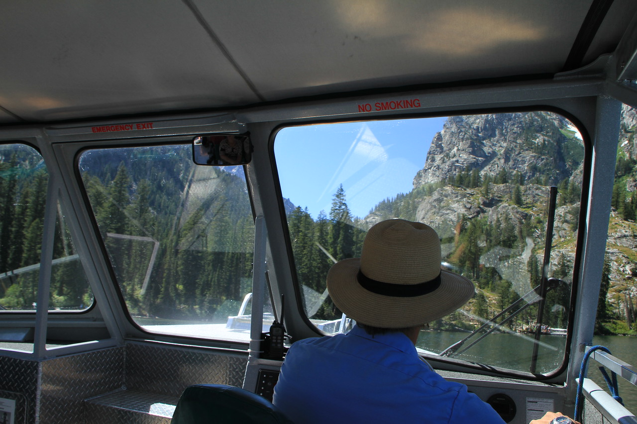 Touring Jenny Lake by boat.