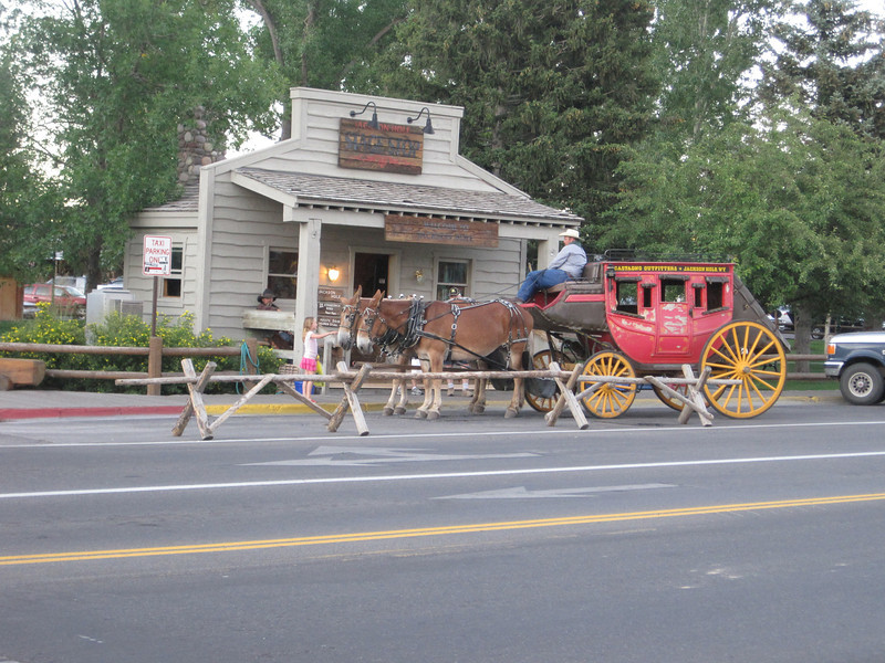 Town square in Jackson, WY.  Complete with stage coach rides.  Yes, we went on it :).