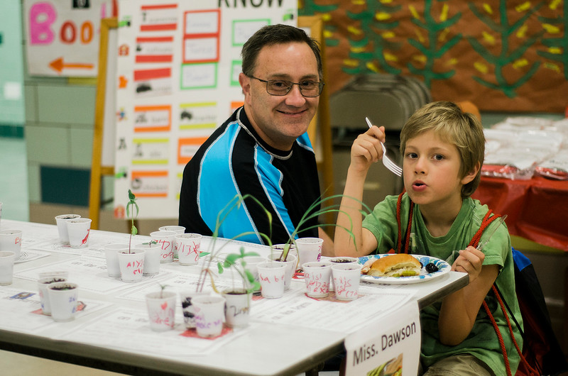 Rob Marshall and Austin, 9, enjoy lunch during the conclusion of the Fitchburg Public Schools' Journeys Summer Camp at Crocker Elementary School on Wednesday, July 26, 2017. SENTINEL & ENTERPRISE / Ashley Green