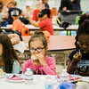 Alexis Denzel, 8, Madilyn Tran, 8, and Chelsea Barnor, 9, enjoy lunch during the conclusion of the Fitchburg Public Schools' Journeys Summer Camp at Crocker Elementary School on Wednesday, July 26, 2017. SENTINEL & ENTERPRISE / Ashley Green