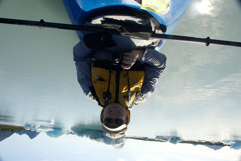 My over-the-head attempt to photograph Jim, who sat behind me to steer the kayak.