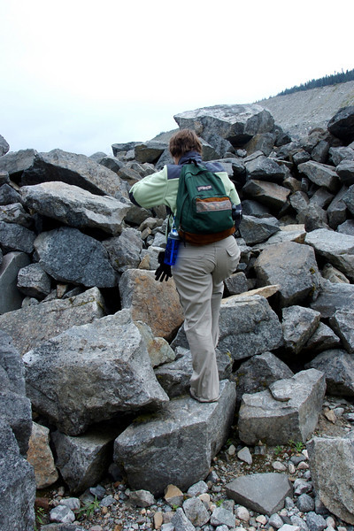 Clambering over another pile of boulders.