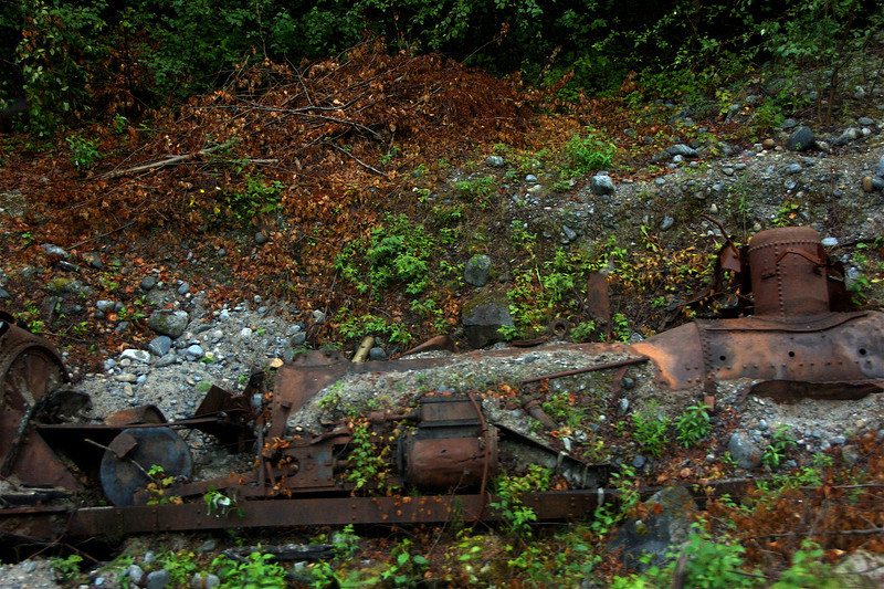An even older, more abandoned engine down the hill from the tracks.
