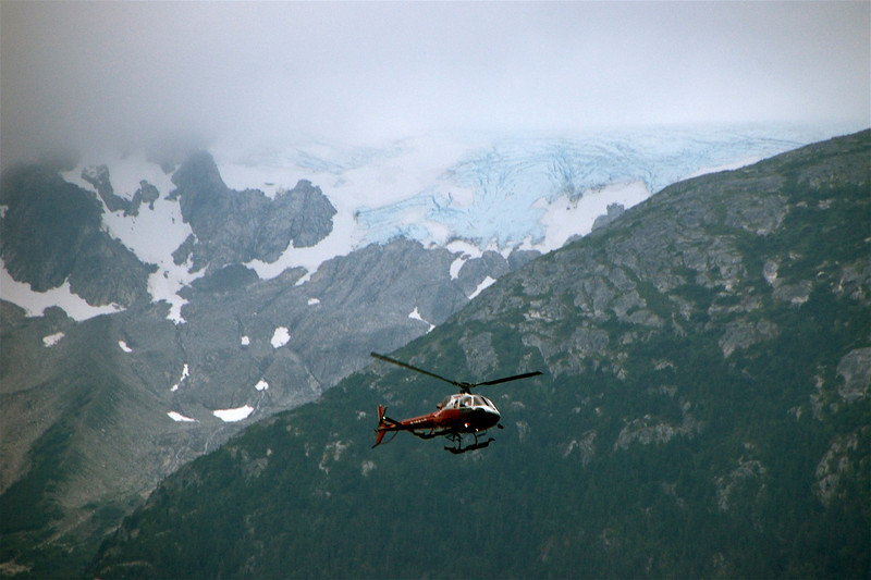 Helicopters coming back from glacier trekking.