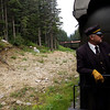 "The conductor getting ready to let us off at our ""train stop."""