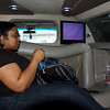 Karen in the limo on the way to our hotel. Very luxe! Even the ceiling had fiber-optic lights that twinkled and changed colors. Let the adventures begin!
