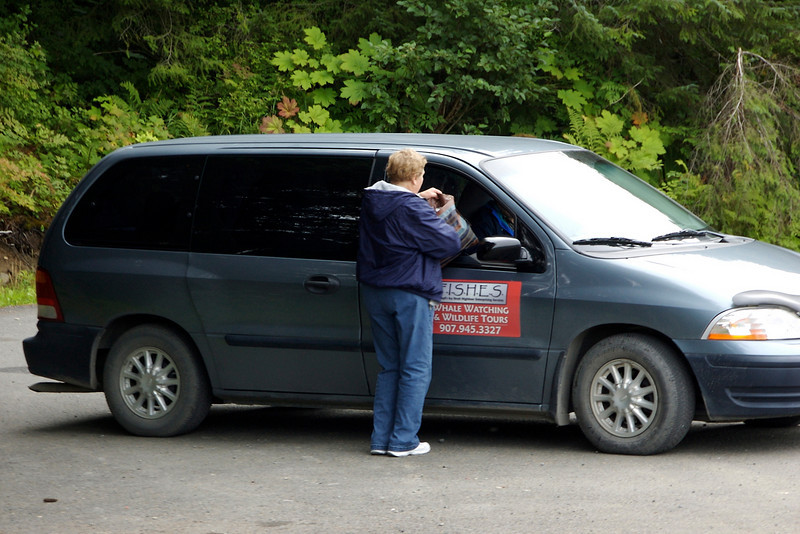 Our pick-up for the whale watch. Marj was driving. The woman standing by the van got her times mixed up and thought Marj was there for her--she  was scheduled for the trip after us. She wasn't happy and, I think, gave poor Marj a hard time.