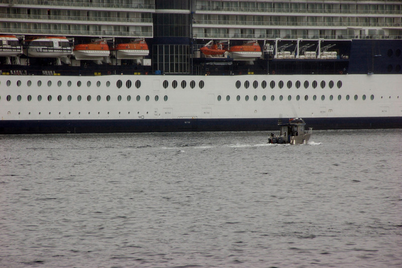 Boat next to a Celebrity cruise ship (which is about the same size of ours).