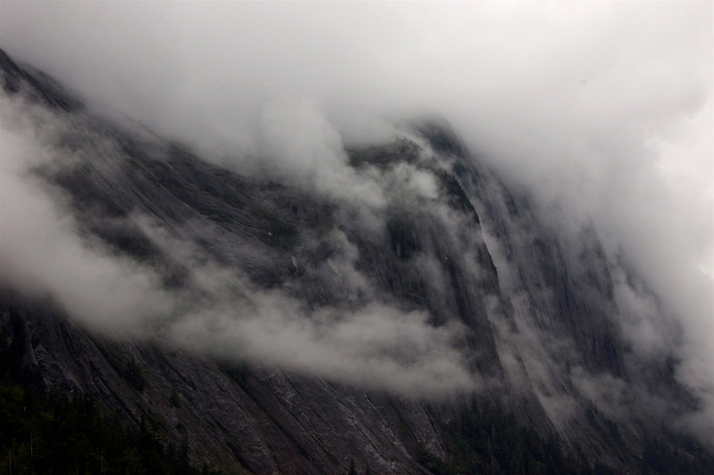 I loved how the mists just rolled off the glacier-carved cliffs.