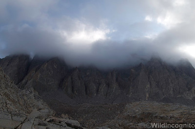 Palisade West Face in Clouds