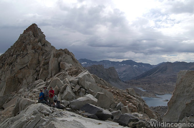 Climbers scoping routes from Thunderbolt Pass