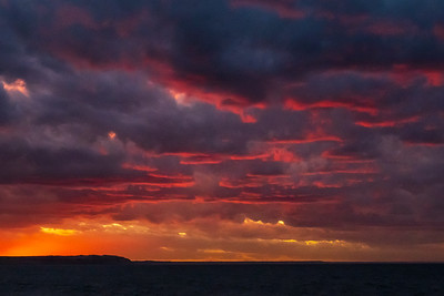 Sunset as we departed Puerto Madryn