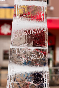Susukino, otherwise known as the red light district of Sapporo, hosted a display of ice sculptures