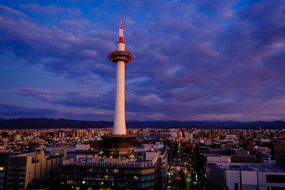 Kyoto Tower before dawn