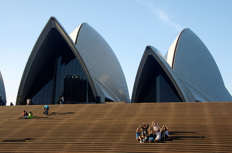 I was taking this photo of the opera house when I realized the little group in the right-hand corner had decided to pose for me!