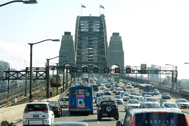 Driving over the Harbour Bridge.