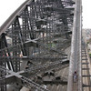 The top of the bridge is about 450 feet above the water, and some 200 feet above the cars rushing below. By the time we were done and back in the Bridge Climb headquarters, we'd climbed over 1400 rungs or stairs.
