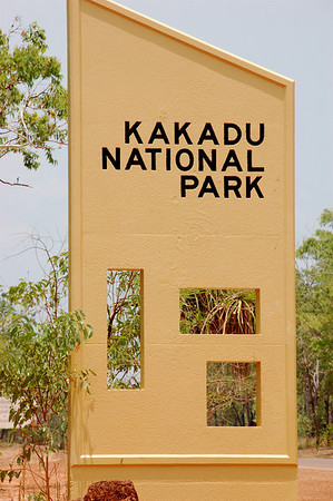 One of the entries into the park. The cutouts in the sign indicate the stages in which the park became a world heritage site. The area was listed for both its natural and cultural value.