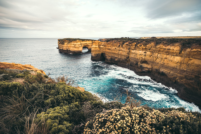 Fascinating views from the Island Arch Lookout towards the Mutton Bird Island along the Great Ocean Road