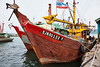 Fishing boats at fish docks, Kota Kinabalu, Sabah, Malaysian Borneo