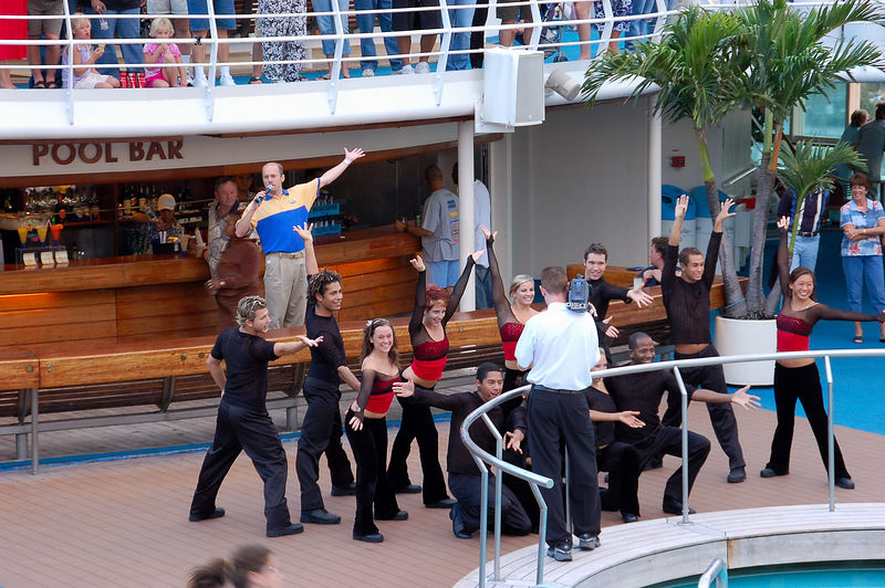 Cheesy cruise dancers.