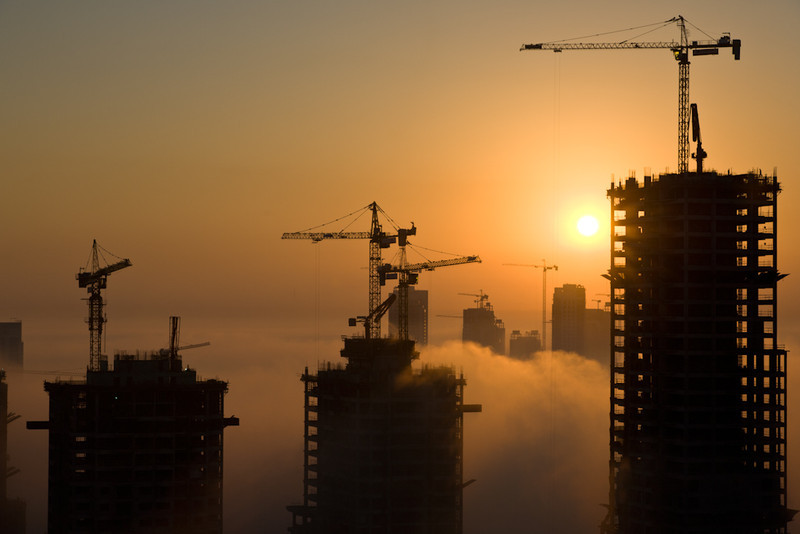 Construction, Dubai, at sunrise