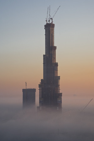 The Burj Dubai under construction, now named the Burj Khalifa