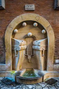 A restored fountain dedicated to books