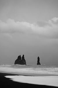 Sea stacks dot the shore near Vik