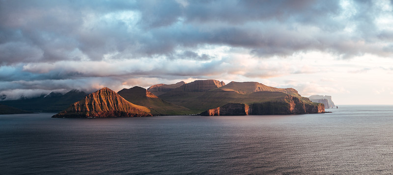 The view from Kalsoy towards Eysturoy and the tiny village of Gjogv.