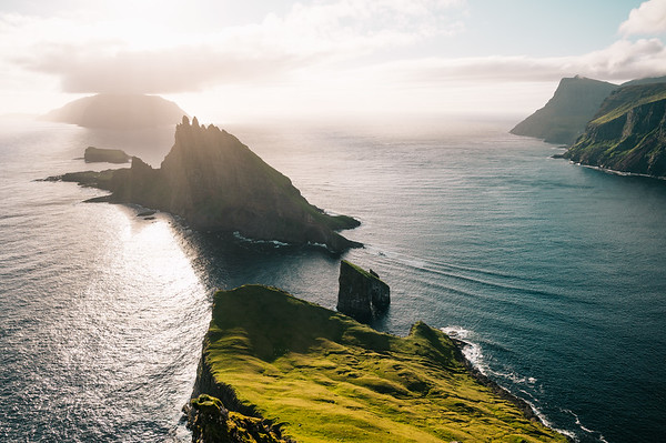 One of the most famous points of the Faroe Islands seen from high above.