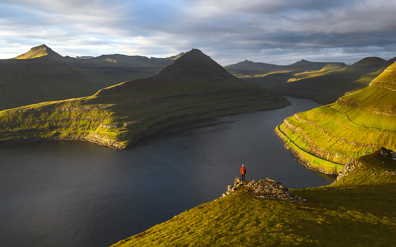 High above a fjord in the Faroe Islands