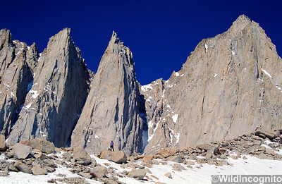 Standing in front of Keeler Needle and Mount Whitney