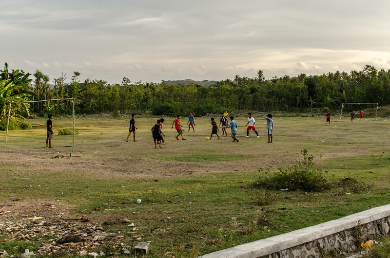 Soccer game during the more gentle temperatures
