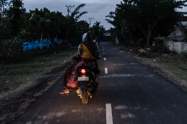 In indonesia almost everything is shared and you barley see just one person on a bike.