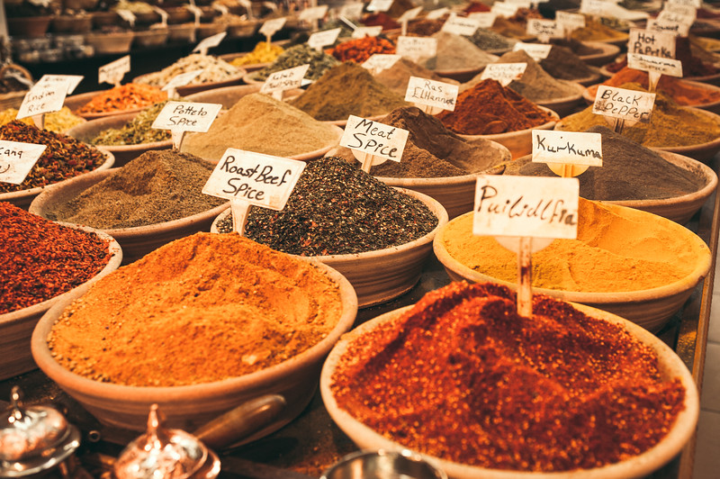 Spices at the old city food market in Jerusalem.