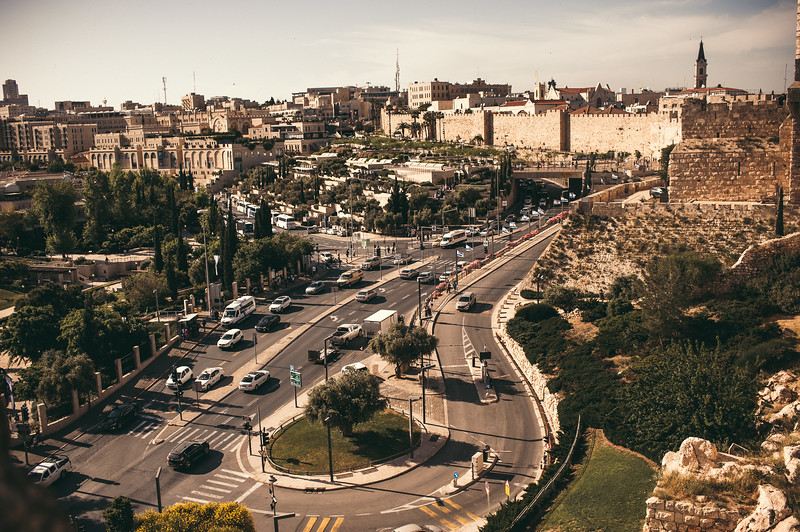 The city of Jerusalem seen from the ramparts walk.