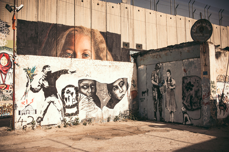 The coloful face of the west bank barrier. A playground for street artists like Banksy.
