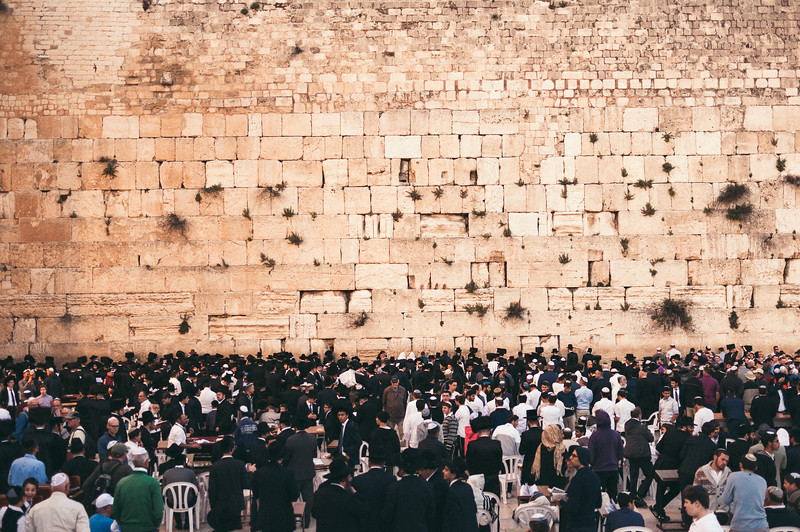 Believers infront of the Western Wall